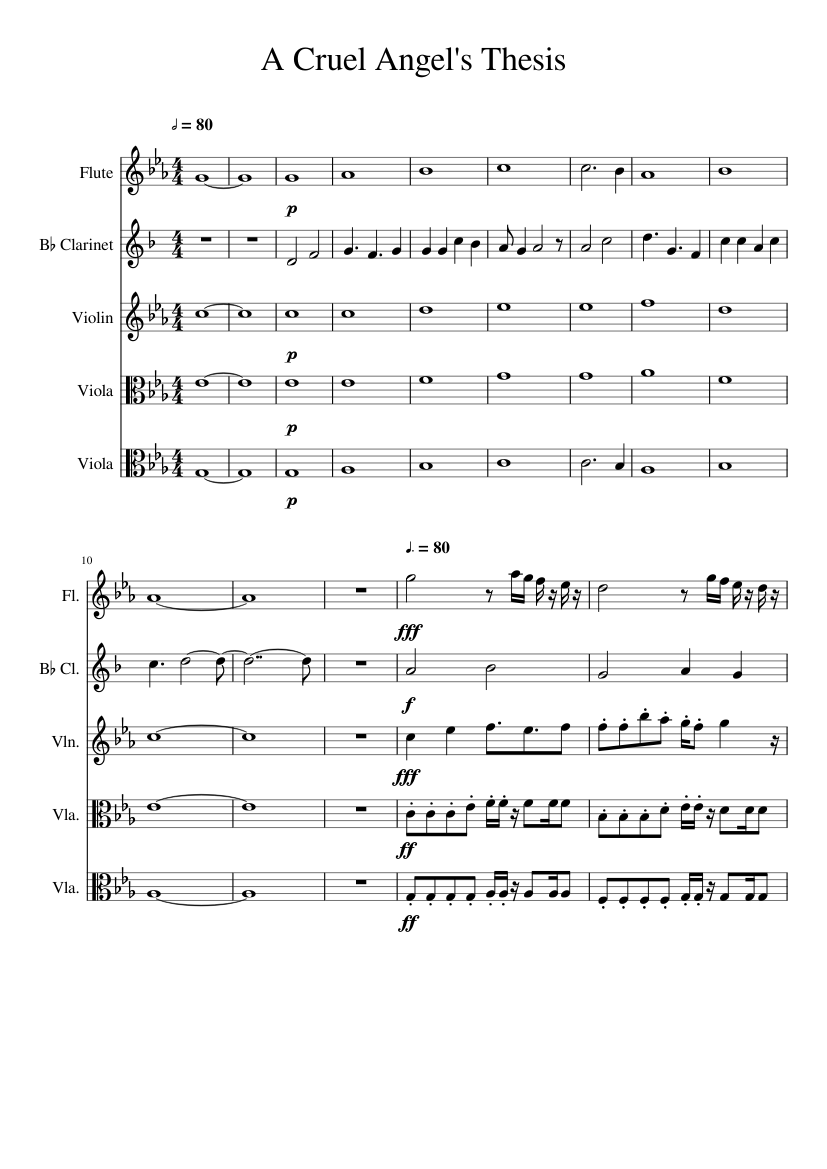 a cruel angels thesis clarinet sheet music