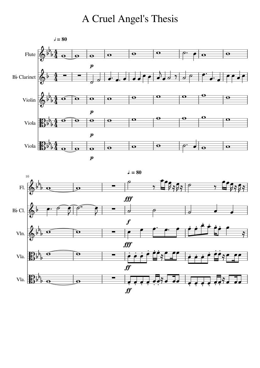 a cruel angels thesis clarinet sheet music