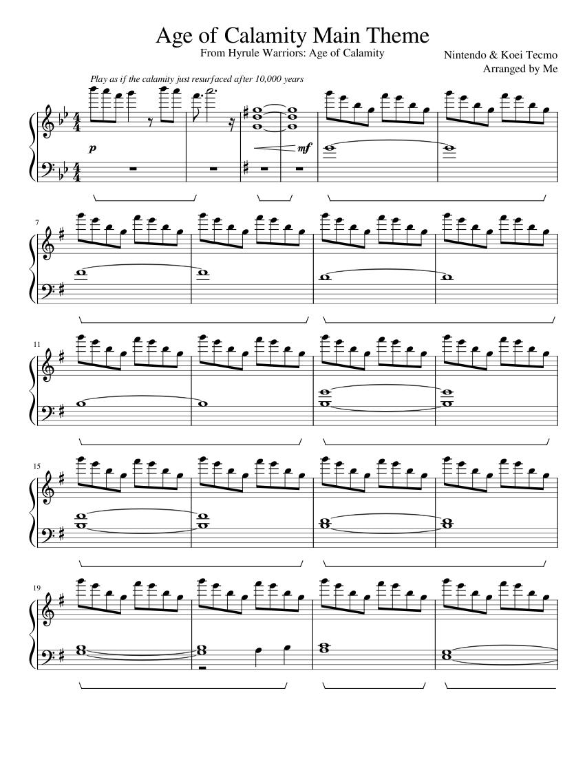 Age Of Calamity Main Theme Sheet Music For Piano Solo Musescore Com