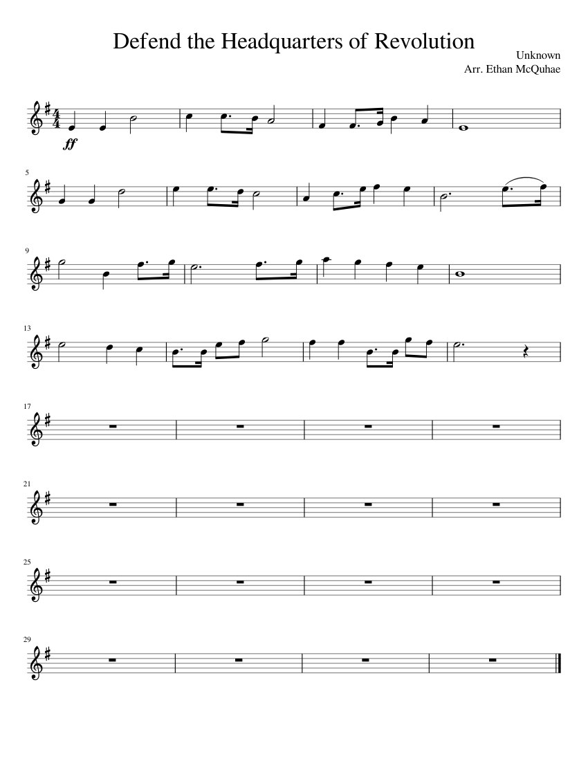 Defend The Headquarters of Revolution sheet music for Piano download