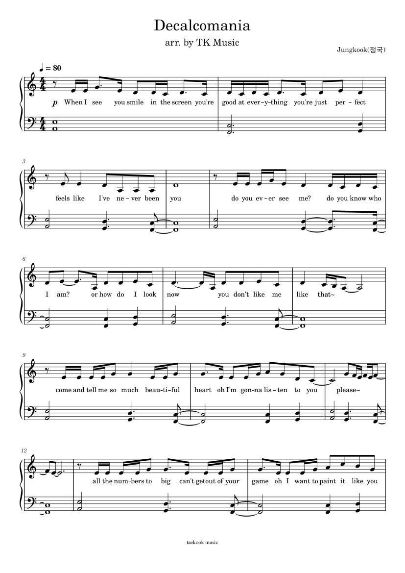 Jungkook Decalcomania piano sheets