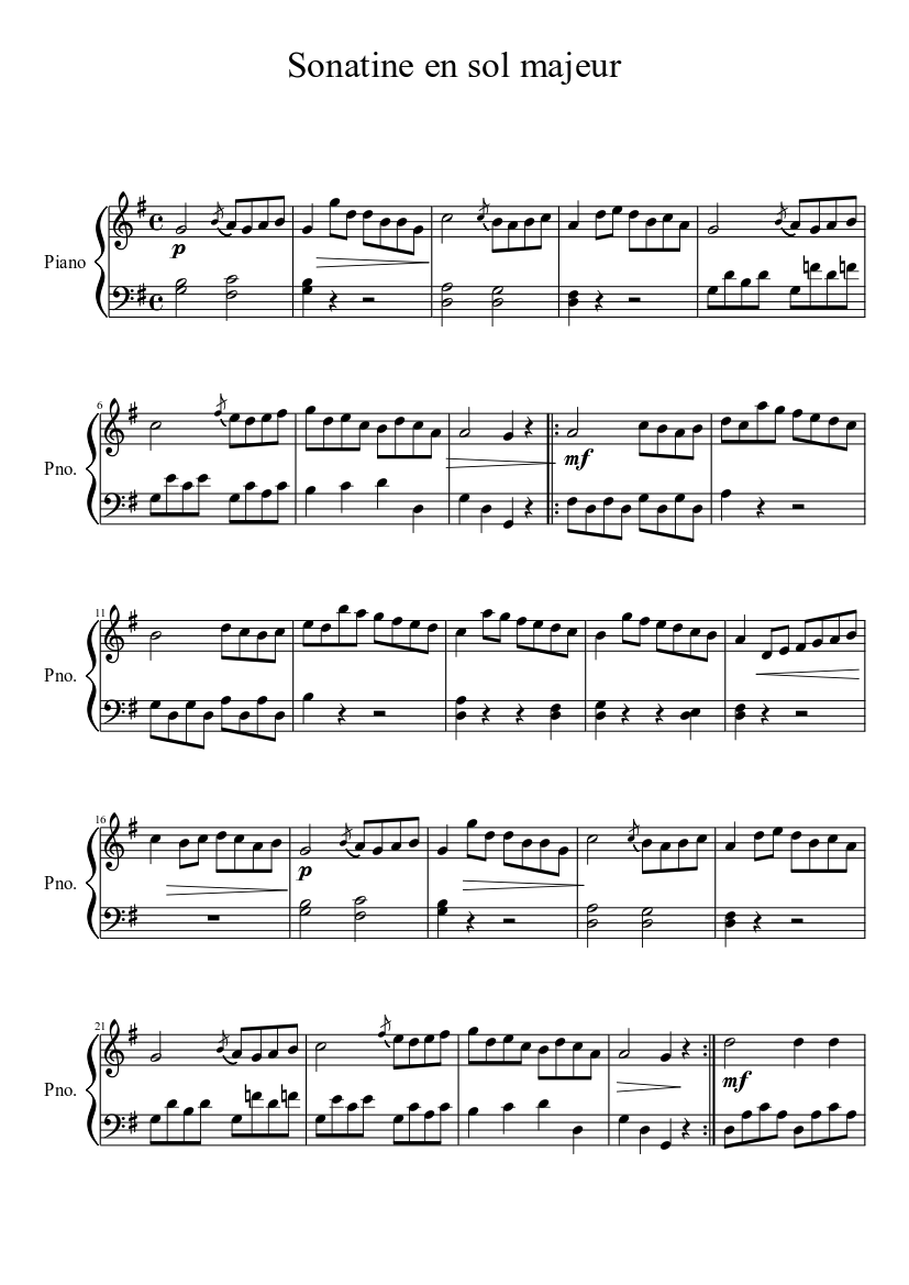 Sonatine en sol majeur - Beethoven Sheet music for Piano (Solo