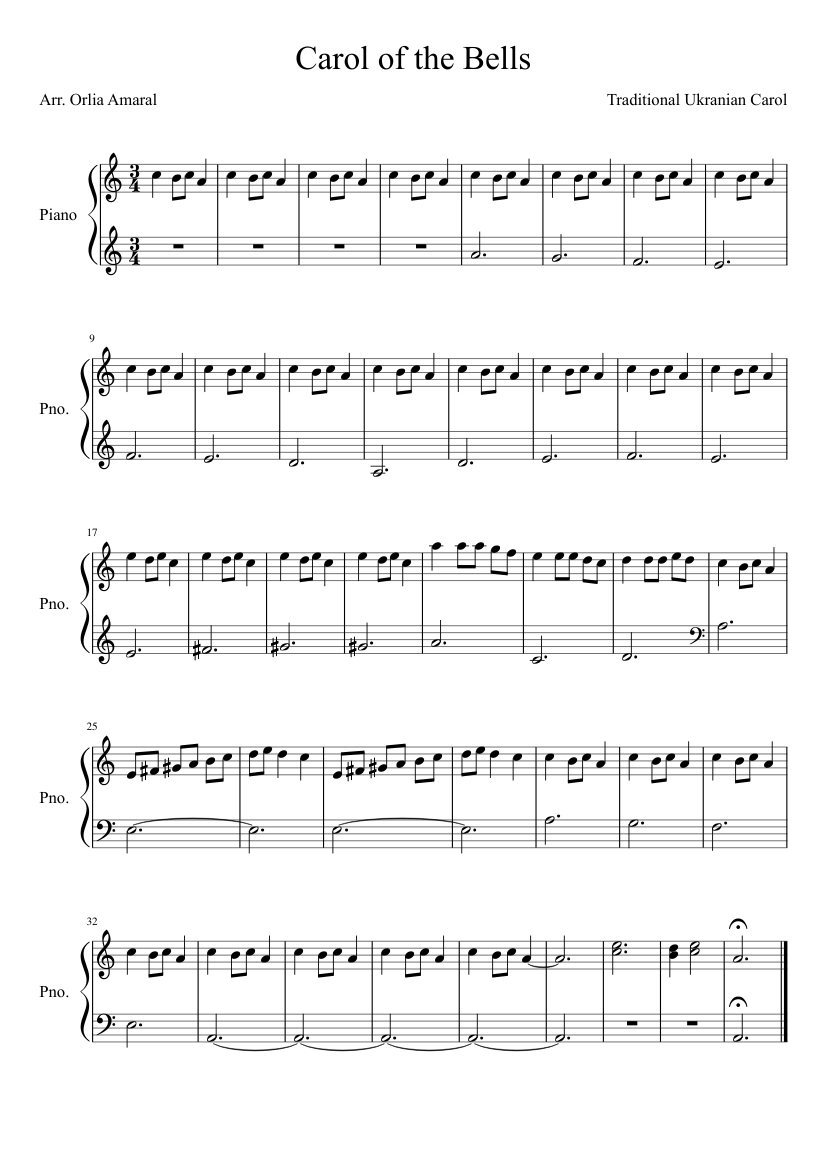 Carol Of The Bells Easy Piano Sheet Music For Piano Solo Musescore Com