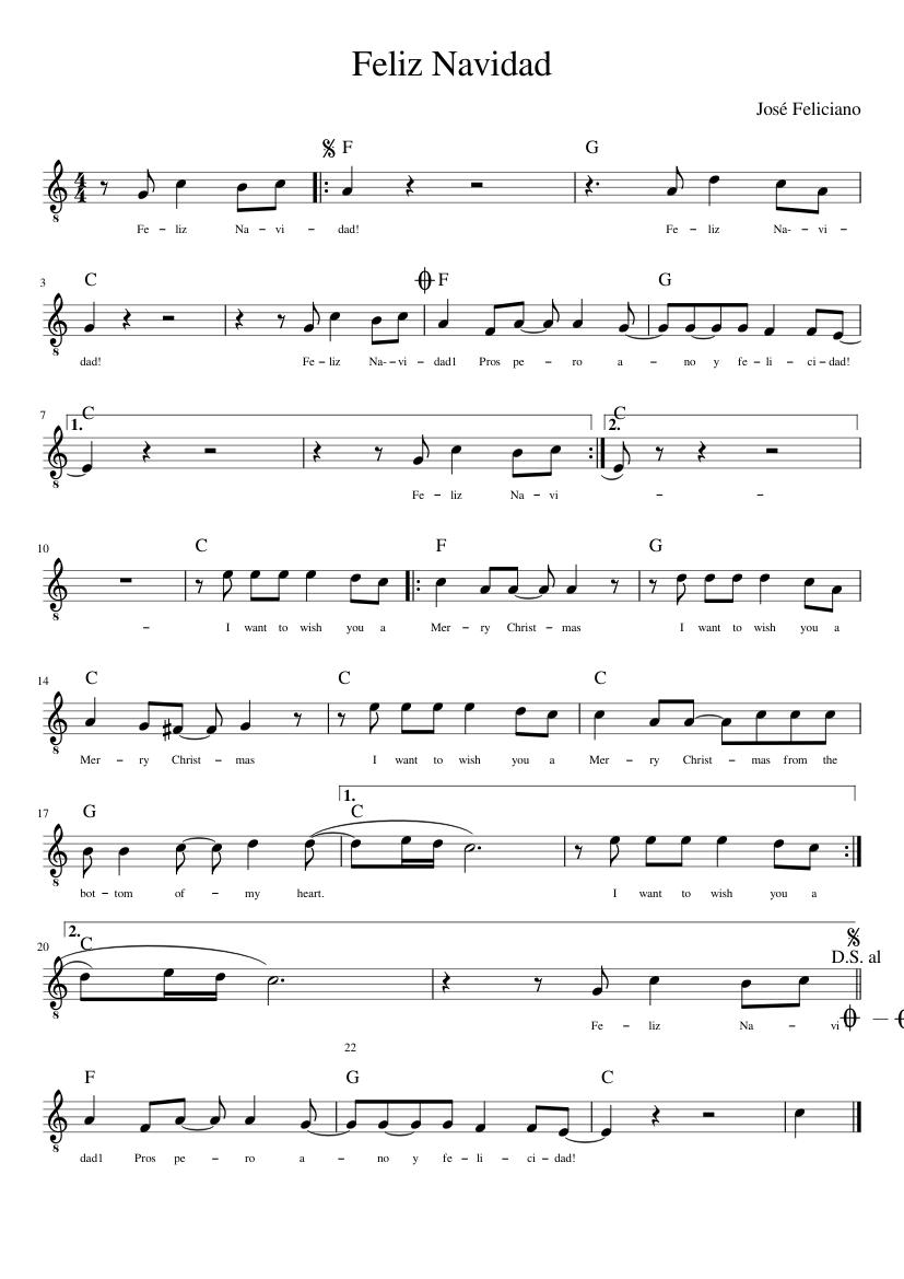 feliz navidad guitar sheet music for guitar (solo) | musescore.com  musescore.com