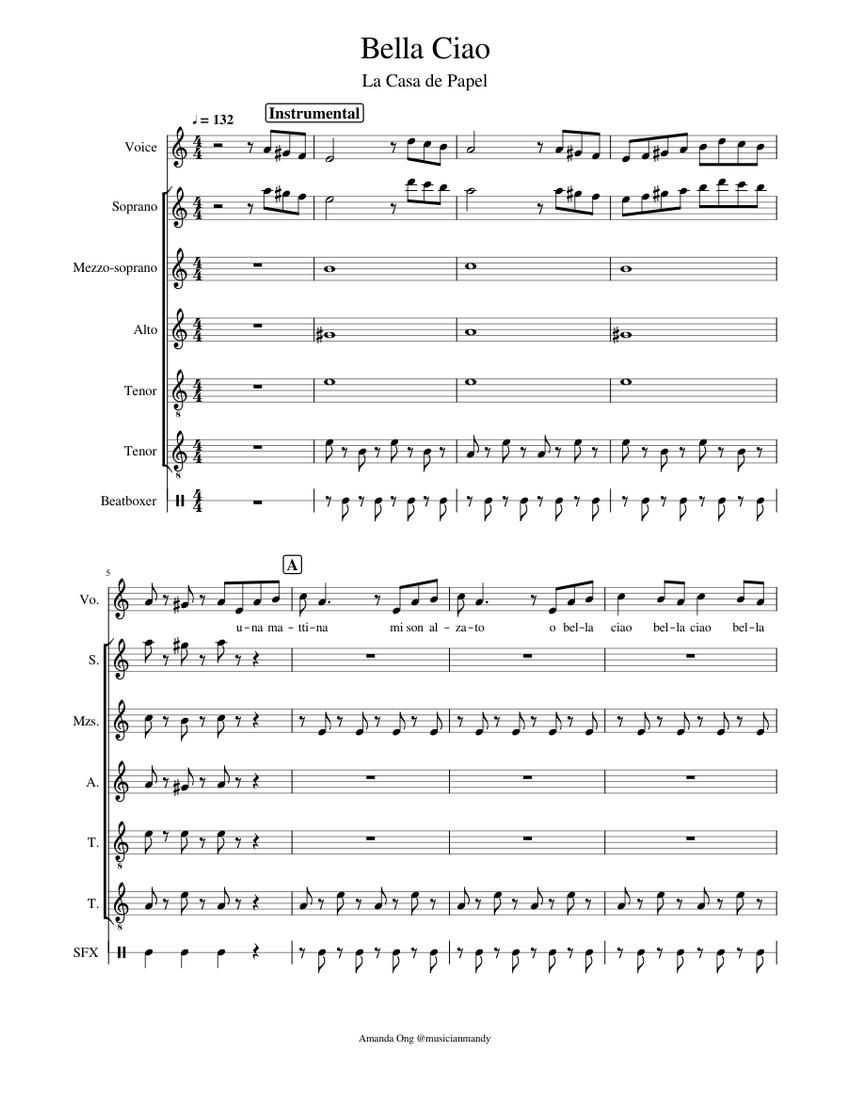 Bella Ciao La Casa De Papel Money Heist A Cappella Sheet Music For Vocals Soprano Tenor Alto More Instruments A Capella Musescore Com