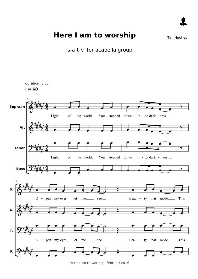 Here I am to worship sheet music for Oboe, Tuba download