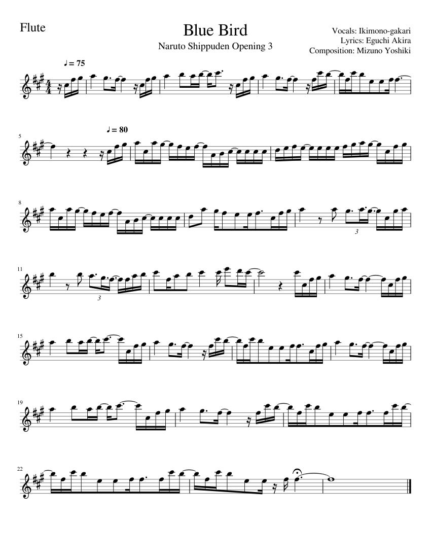 Blue bird, naruto shippuden sheet music for flute download free in.