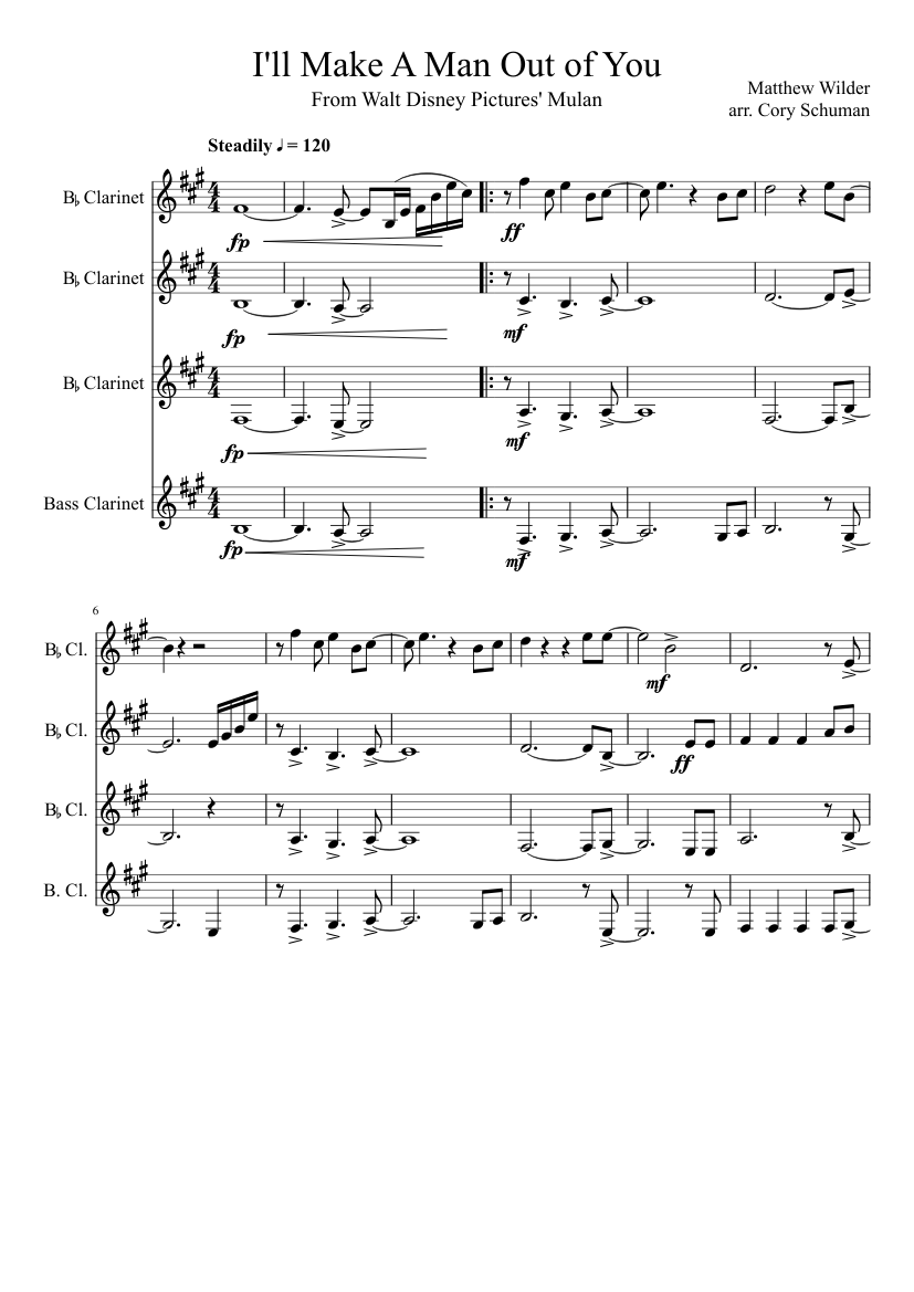 208261b3e08ed I ll Make a Man Out of You sheet music for Clarinet download free in ...