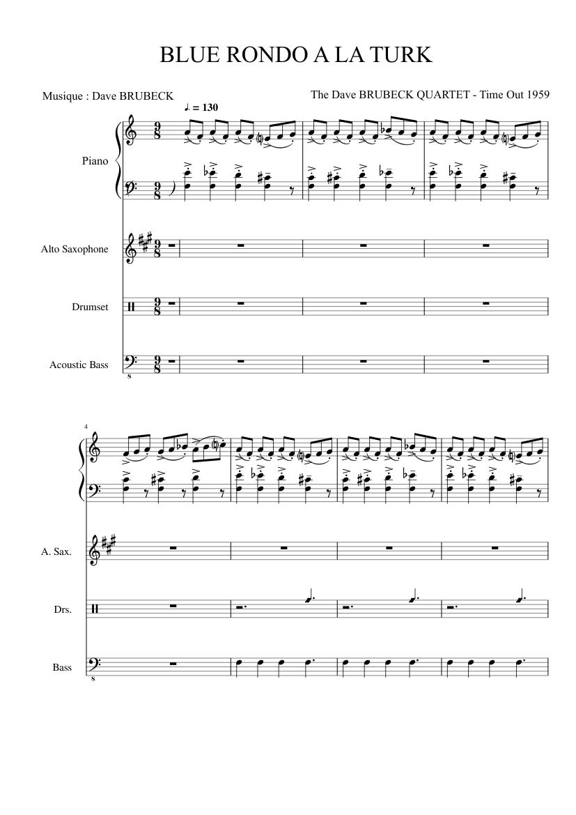 Blue Rondo A La Turk Sheet Music For Piano Alto Saxophone