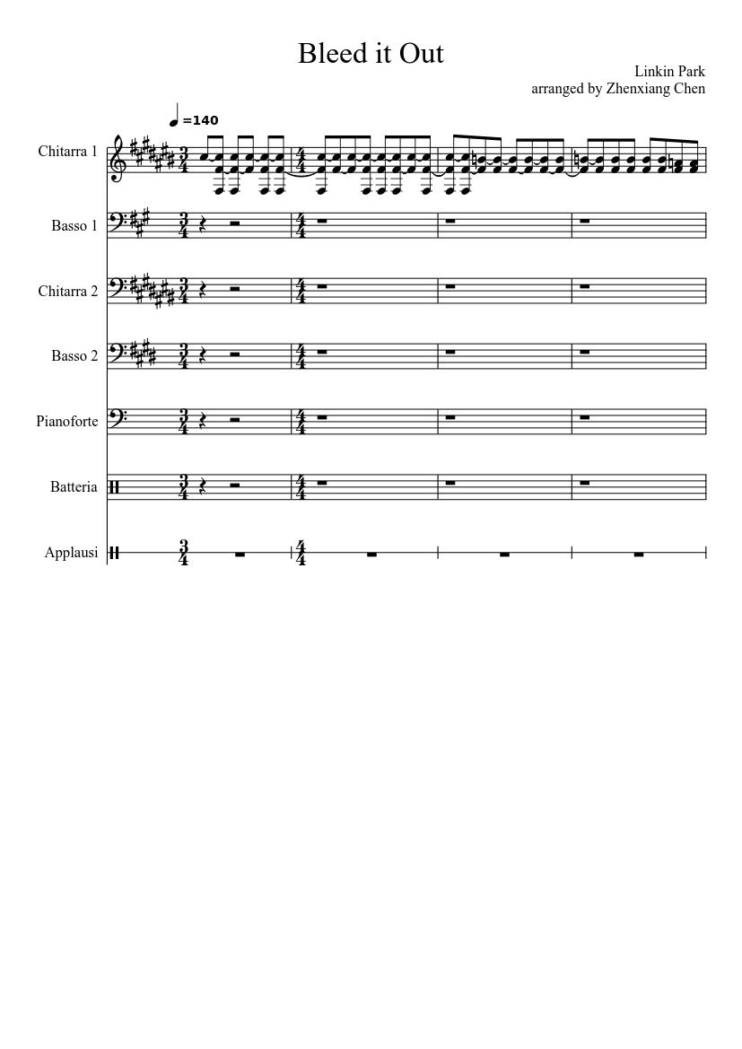 Linkin park bleed it out sheet music download free in pdf or midi.