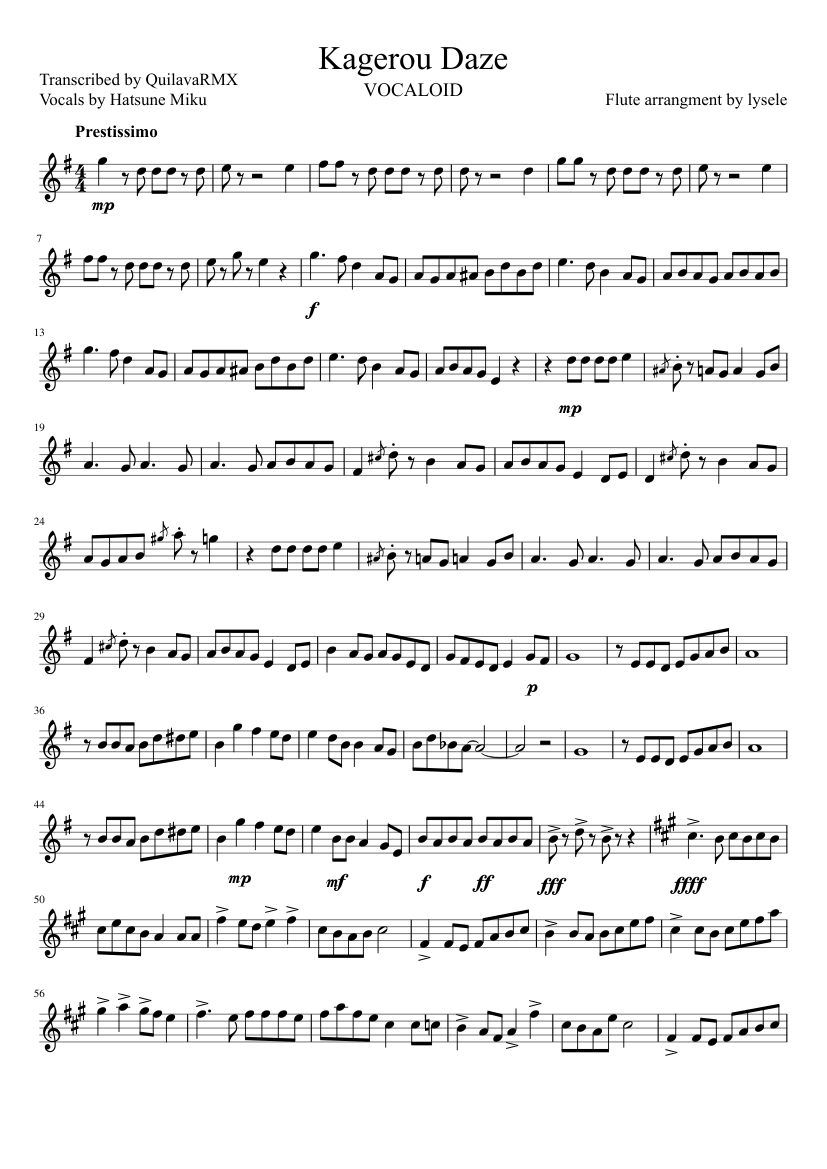 Kagerou Daze sheet music composed by Flute arrangment by lysele – 1 of 3 pages