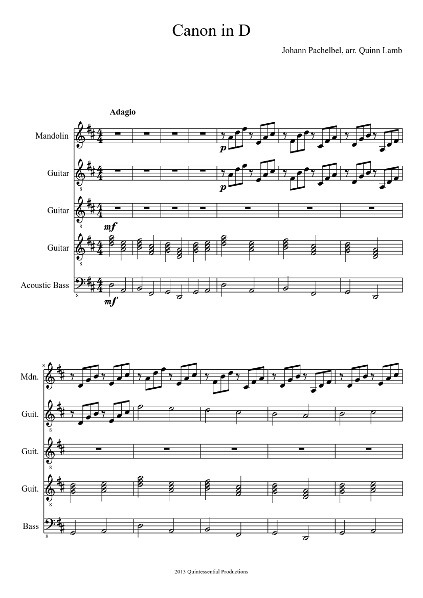 Canon In D For Guitar Ensemble sheet music download free in PDF or MIDI