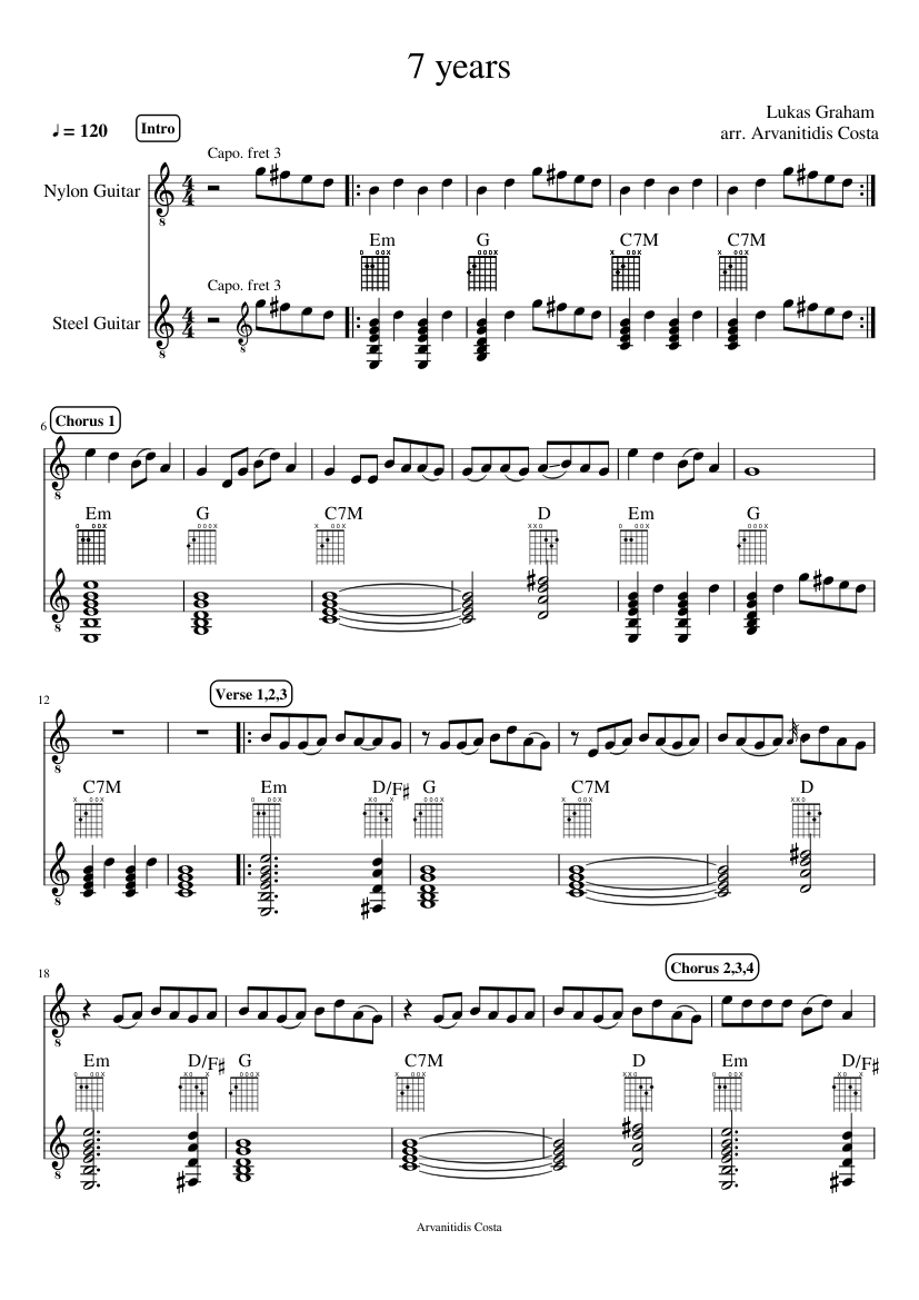7 Years Piano Sheet Music With Letters 7 years-lukas graham - piano tutorial