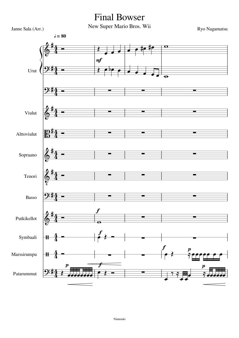 Final Bowser (New Super Mario Bros  Wii) sheet music for Organ