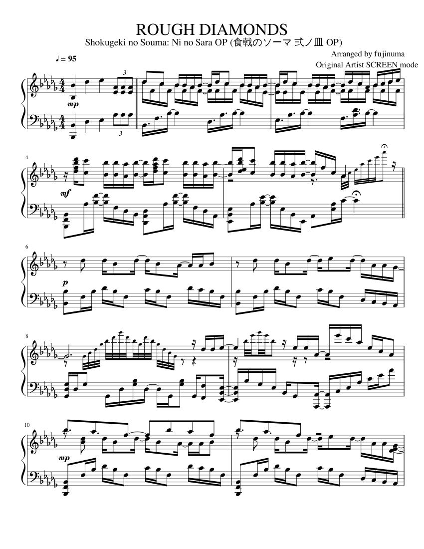 ROUGH DIAMONDS   Shokugeki no Souma: Ni so Sara OP   Advanced Piano