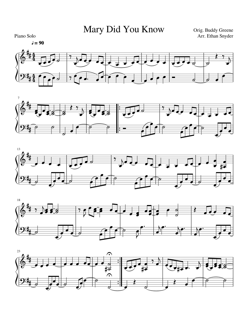 Mary Did You Know Sheet Music For Piano Solo Musescore Com