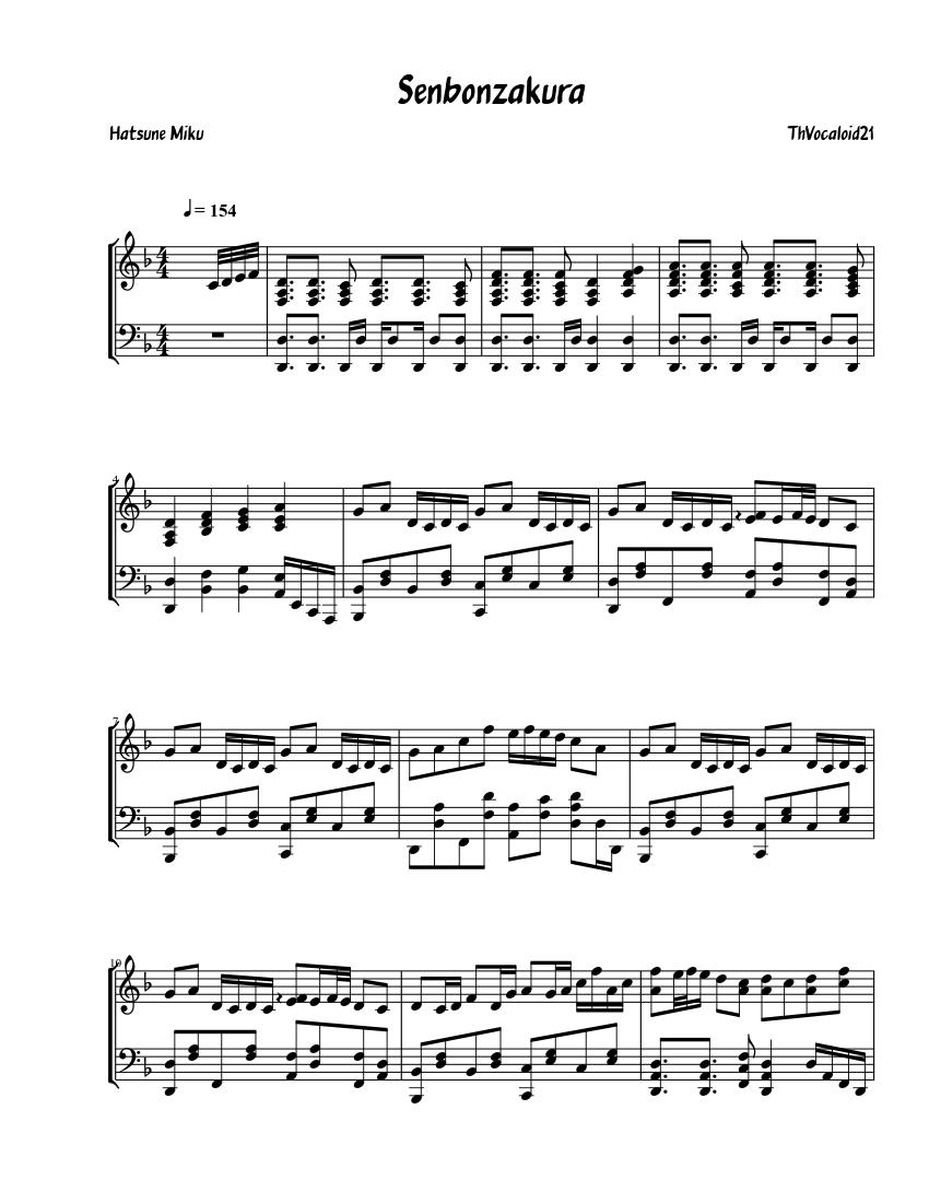 Senbonzakura Sheet Music For Piano Piano Duo Musescore Com