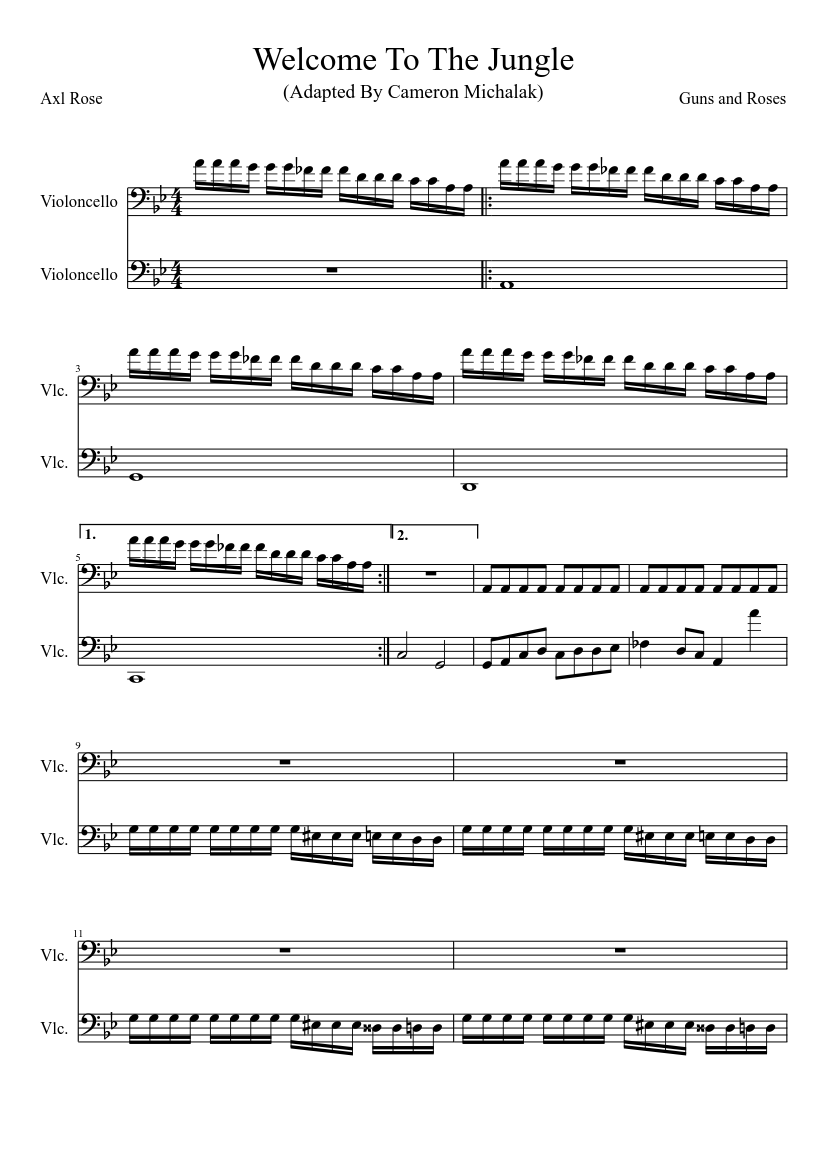 welcome to the jungle (unfinished) sheet music for cello (string duet)    musescore.com  musescore.com