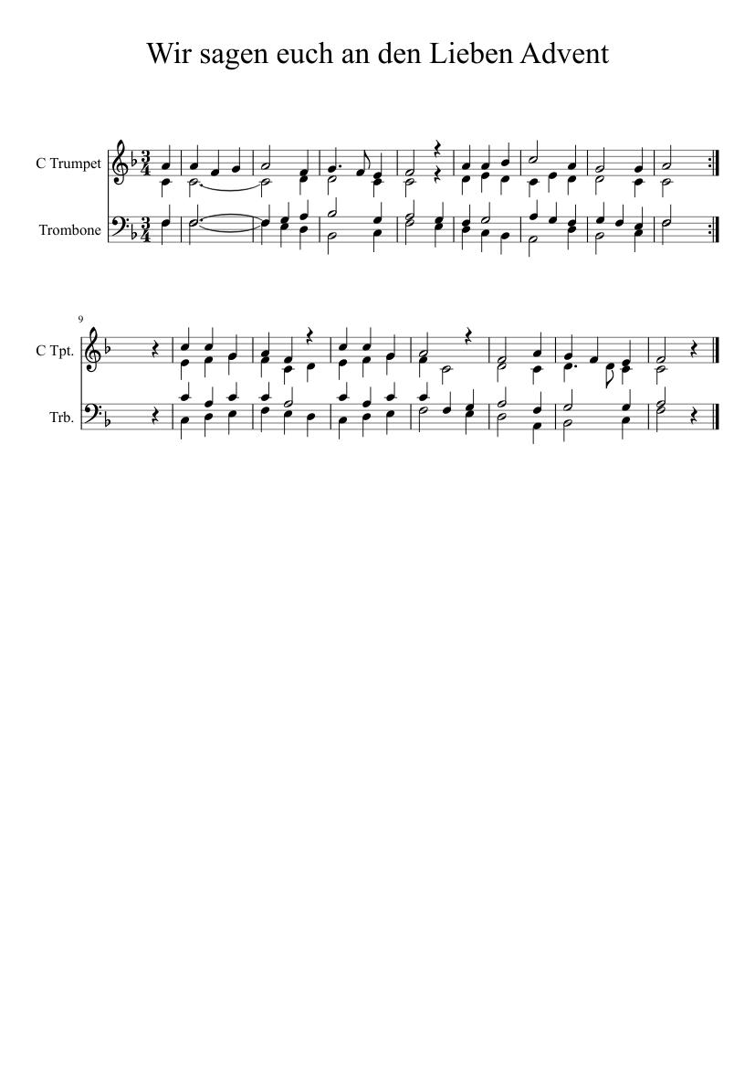 Wir Sagen Euch An Den Lieben Advent Eg 17 Sheet Music For