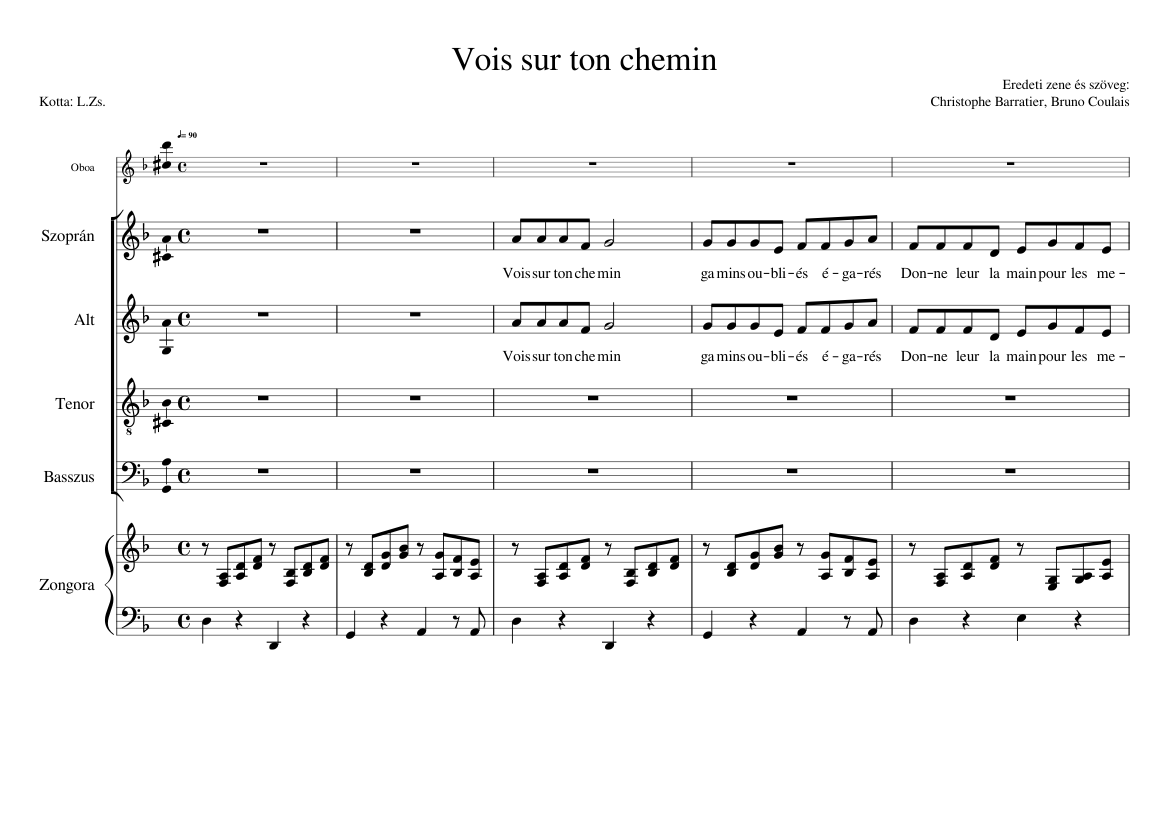 Vois sur ton chemin 1 sheet music for voice download free in pdf.