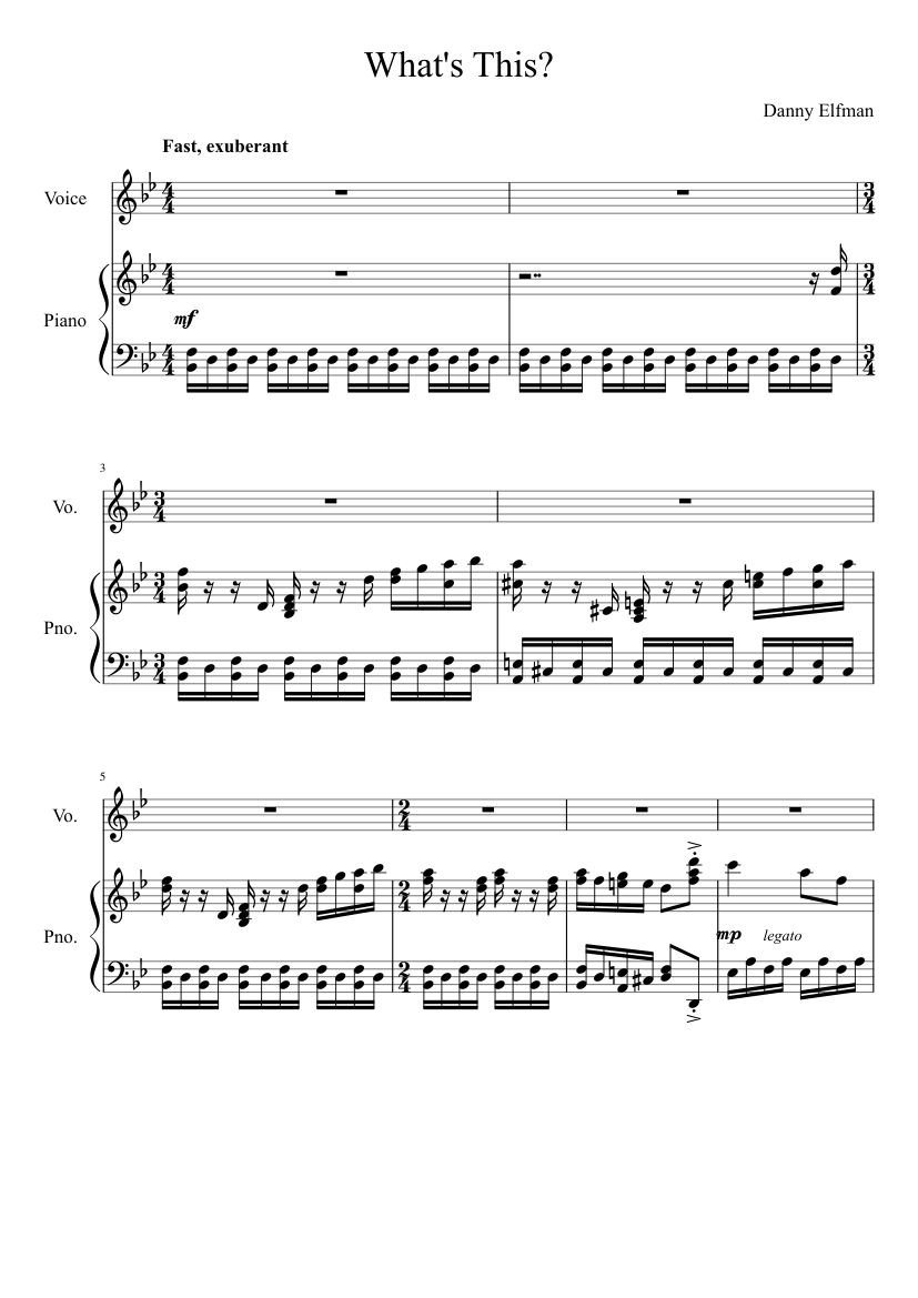 What\'s This? - The Nightmare Before Christmas sheet music for Piano ...