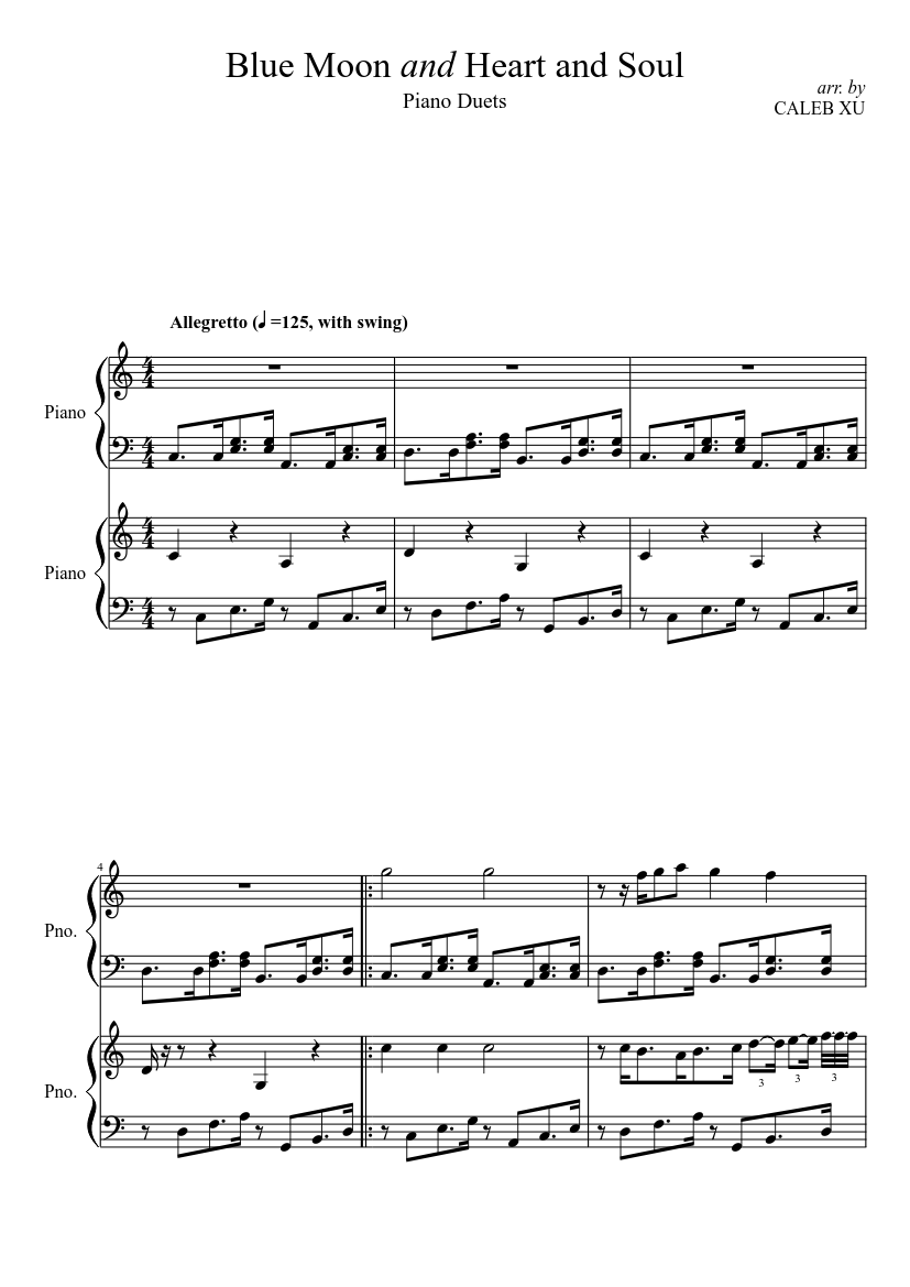 Blue Moon And Heart And Soul Piano Duets Sheet Music Download Free