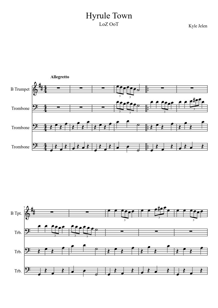 Hyrule Castle Town Theme Brass Quartet Sheet Music For Trombone Mixed Trio Musescore Com