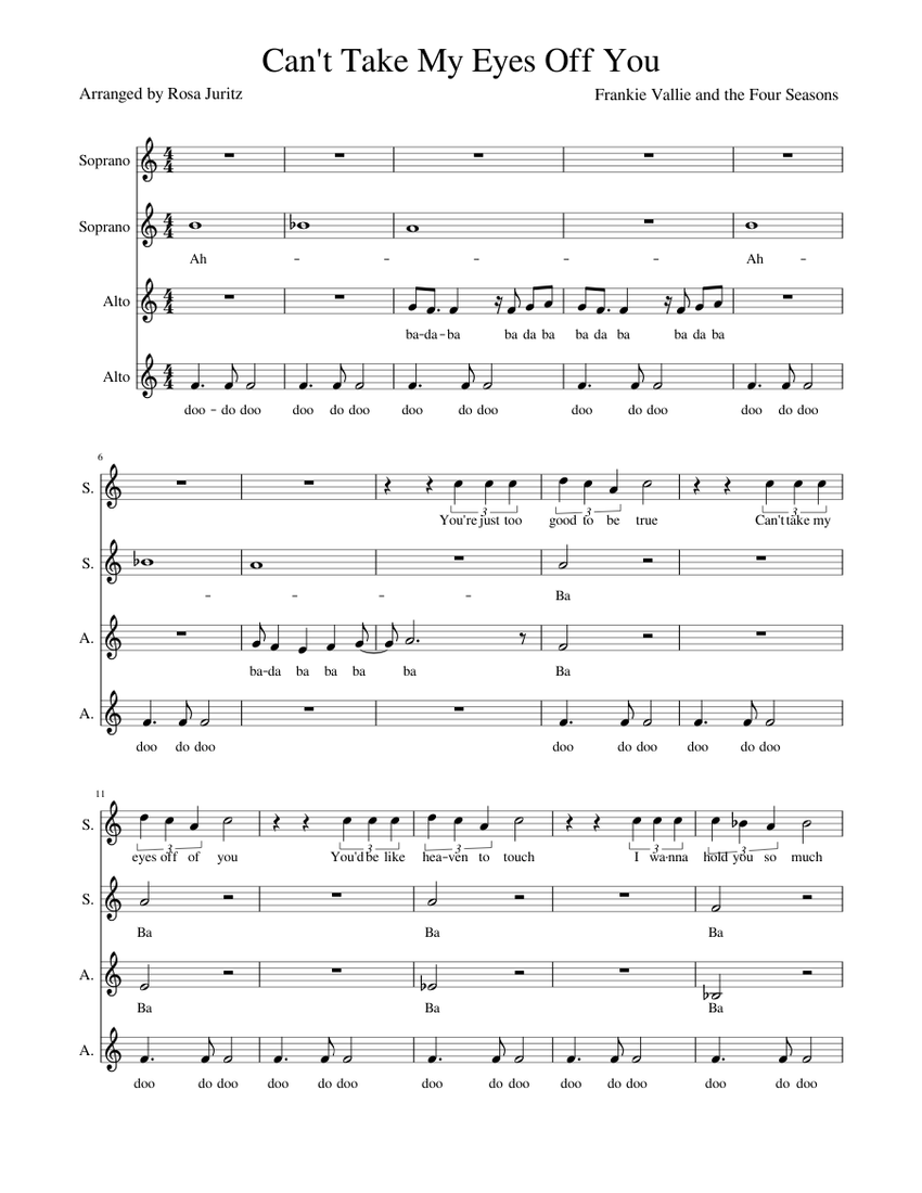 can't take my eyes off you sheet music for soprano, alto (choral) |  musescore.com  musescore.com
