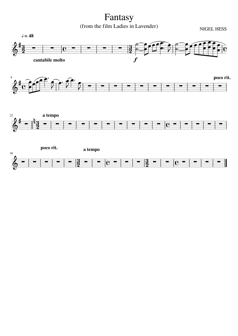 Ladies In Lavender Piano Sheet Music Single Sheet Nigel Hess