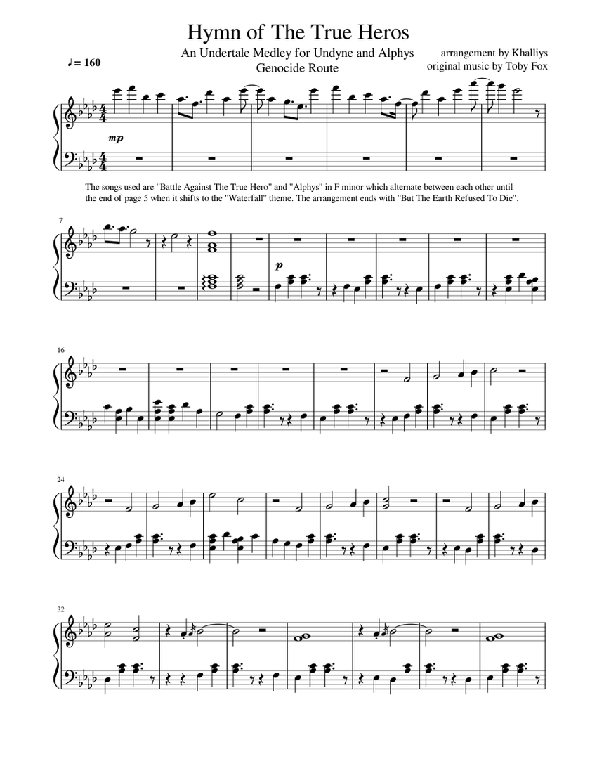 Undertale Battle Against A True Hero Alphys Hymn Of The True Heros Sheet Music For Piano Solo Musescore Com