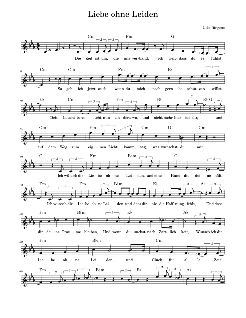 Liebe ohne Leiden sheet music for Piano download free in