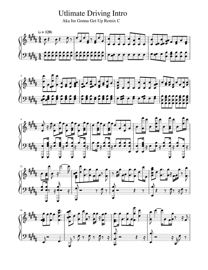 Ultimate Driving Intro Music Sheet Music For Piano Download Free