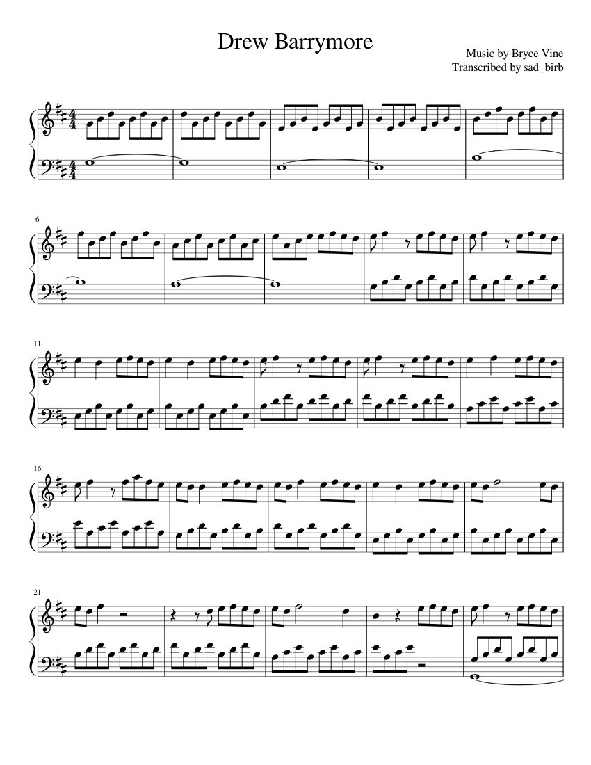 Drew Barrymore - Bryce Vine (Piano) sheet music for Piano download