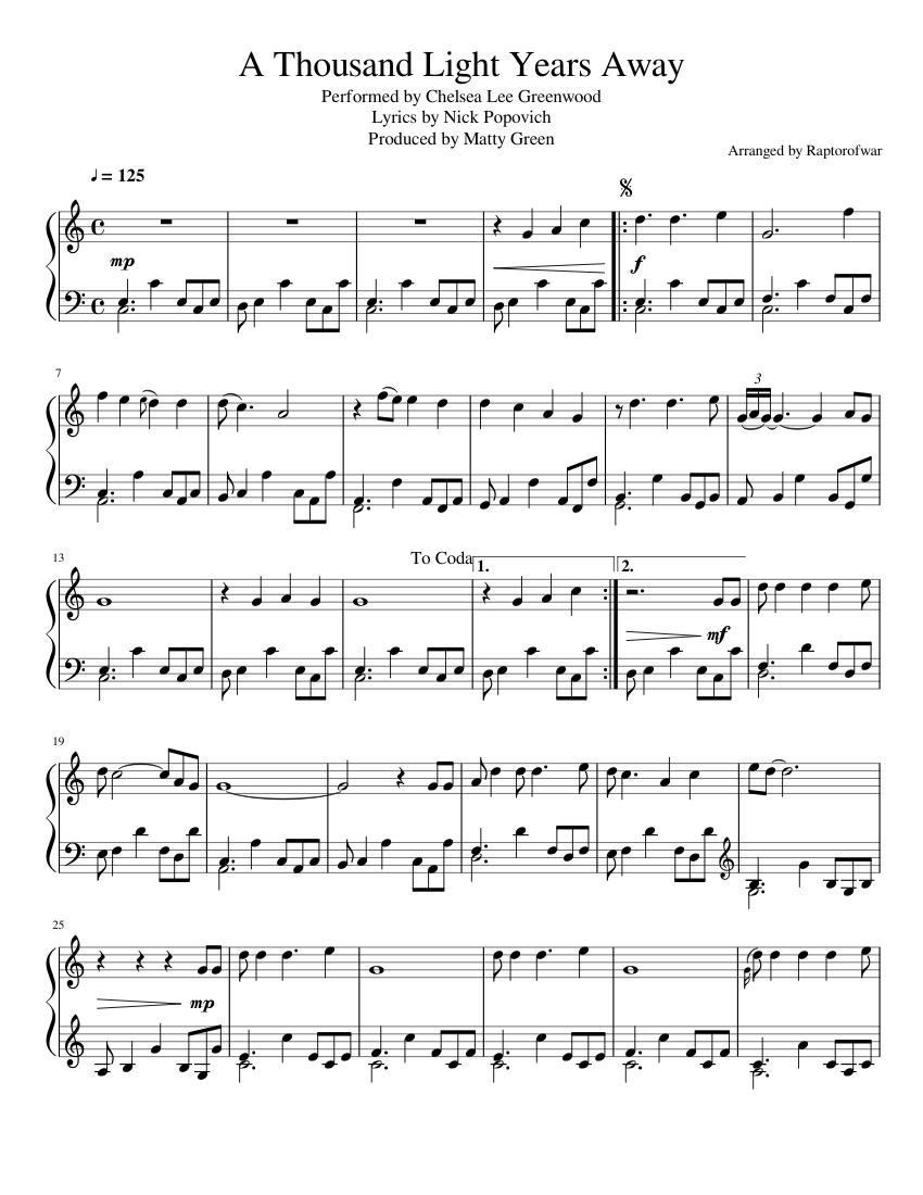 A Thousand Light Years Away - Arranged for Piano sheet music