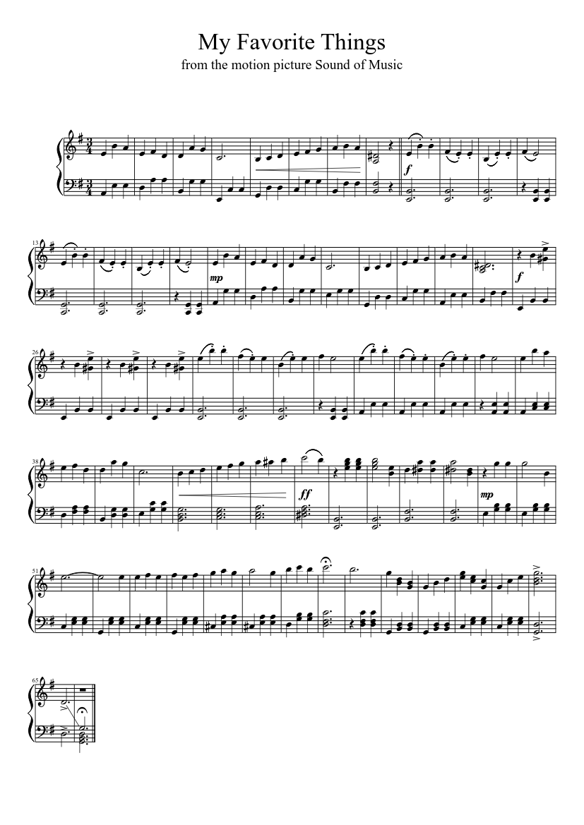 image regarding Free Printable Sheet Music for the Sound of Music called My Favored Aspects sheet songs obtain absolutely free inside of PDF or MIDI