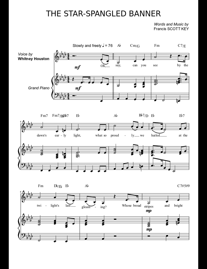 whitney houston the star spangled banner sheet music for piano voice download free in pdf or midi. Black Bedroom Furniture Sets. Home Design Ideas