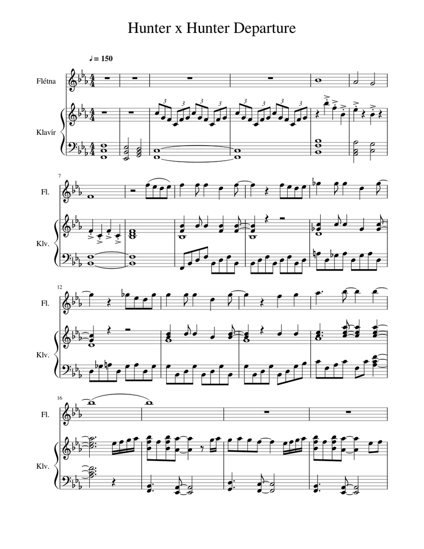 Hunter X Hunter Departure Sheet Music For Piano Flute Mixed Duet Musescore Com