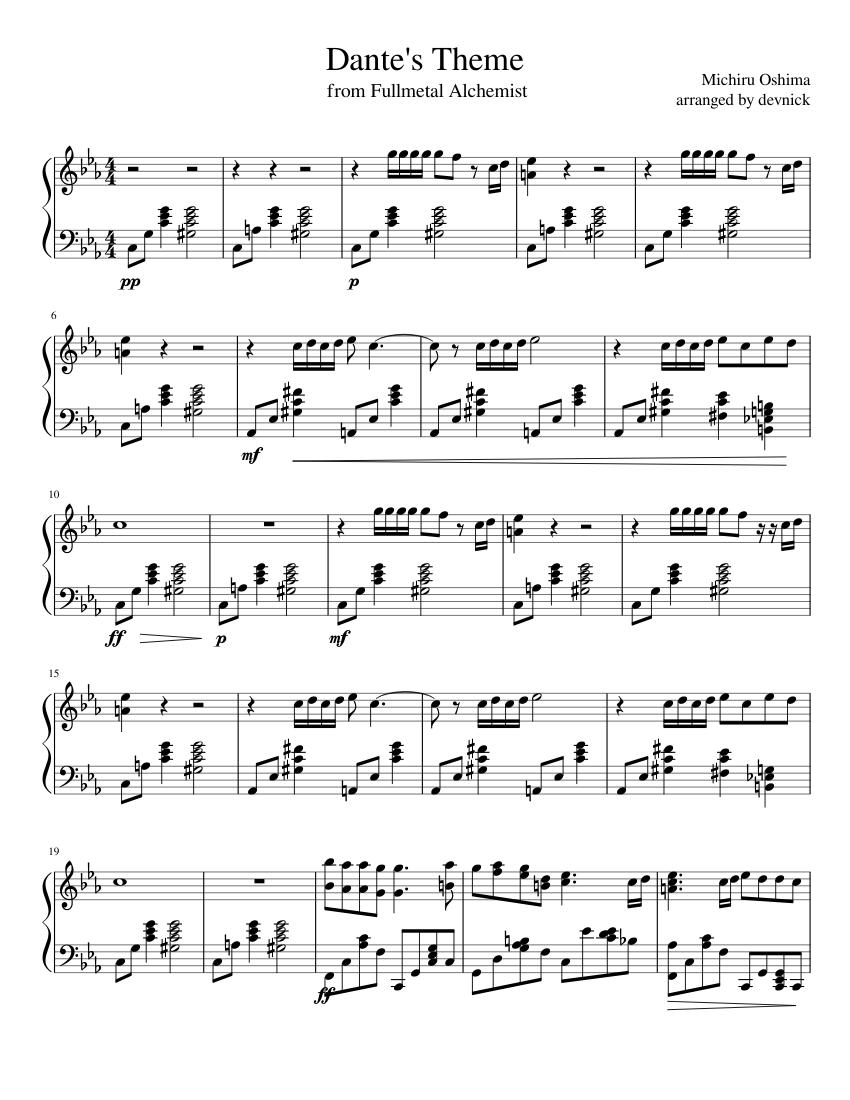 Dante's Theme: Fullmetal Alchemist sheet music for Piano download free in PDF or MIDI