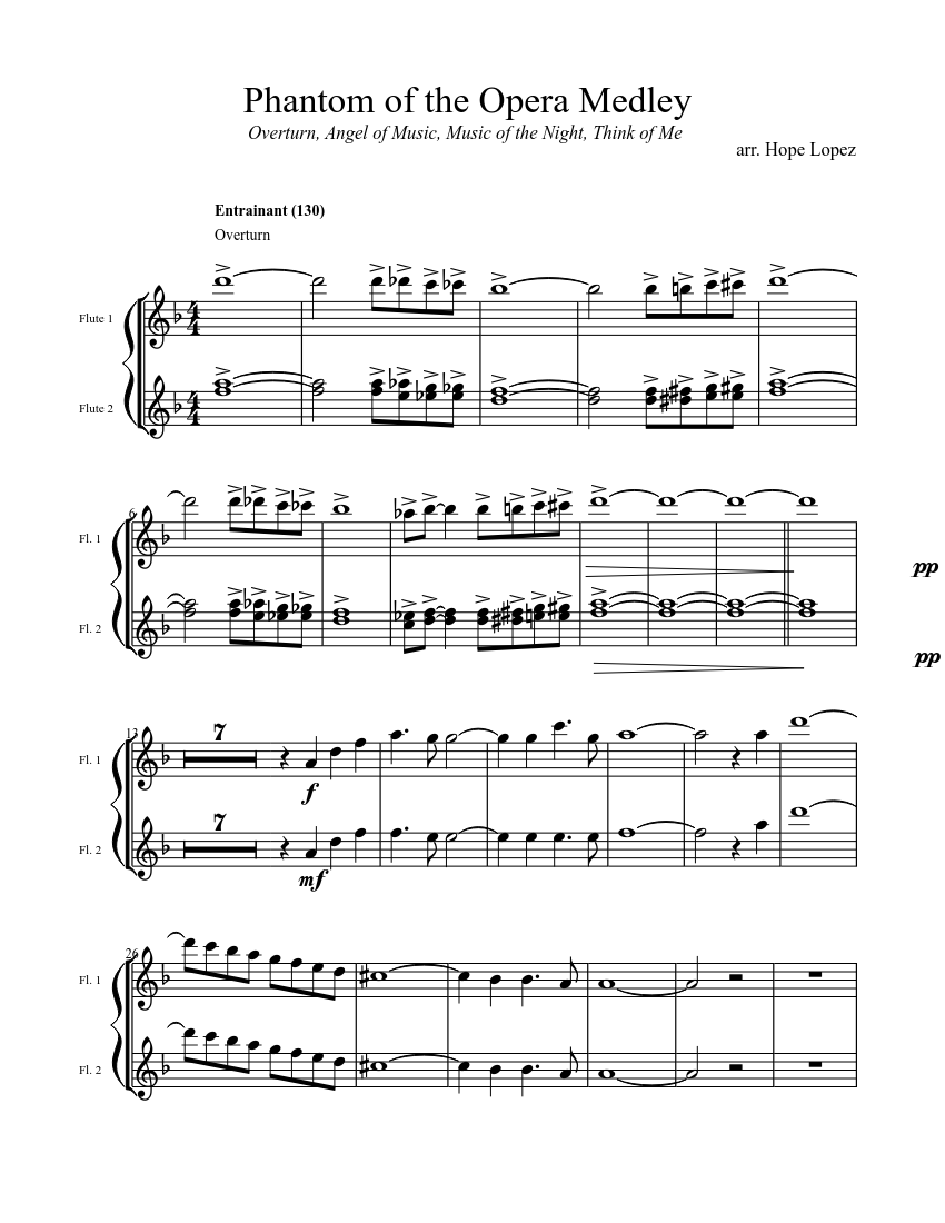 Phantom of the Opera Medley (Flutes) sheet music download free in