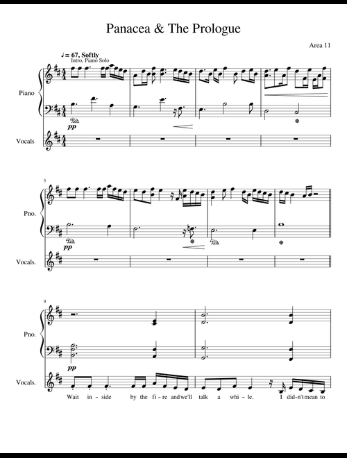 Panacea & The Prologue by Area 11 sheet music for Piano