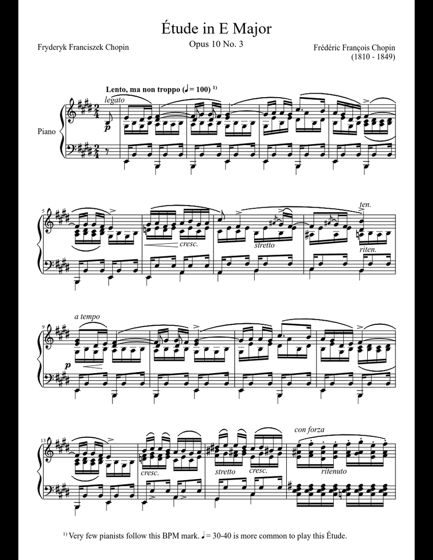 Étude Opus 10 No  3 in E Major sheet music download free in