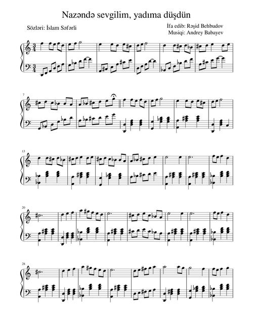 Resid Behbudov Nazende Sevgilim Yadima Dusdun Sheet Music For Piano Solo Musescore Com