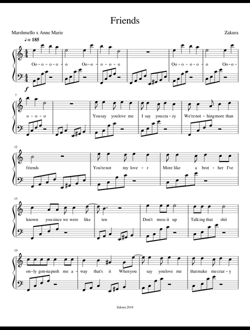 Marshmello x Anne-Marie - Friends sheet music for Piano