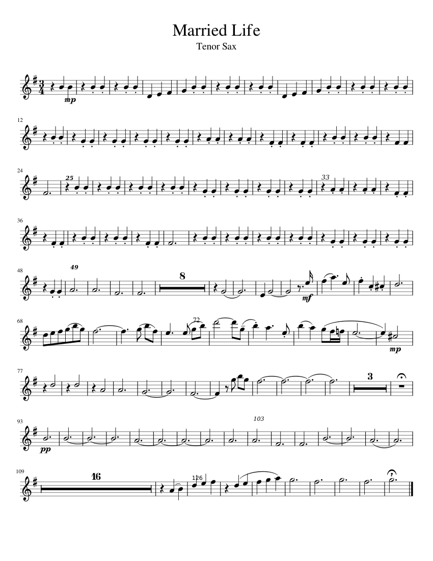 Married Life Tenor sheet music for Tenor Saxophone download free in PDF or MIDI