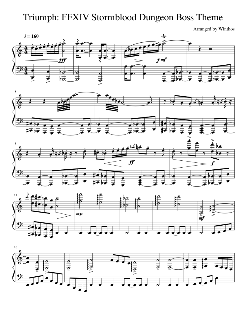 Triumph: FFXIV Dungeon Boss Theme sheet music for Piano download