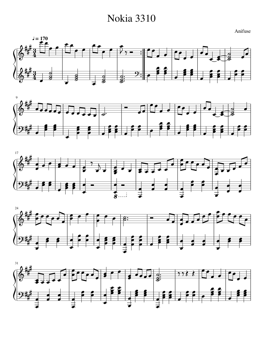 Nokia 3310 Ringtone Melody sheet music for Piano download