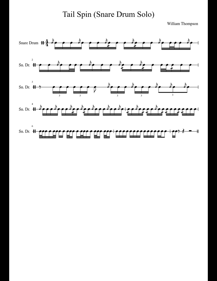 tail spin snare drum solo sheet music download free in pdf or midi. Black Bedroom Furniture Sets. Home Design Ideas