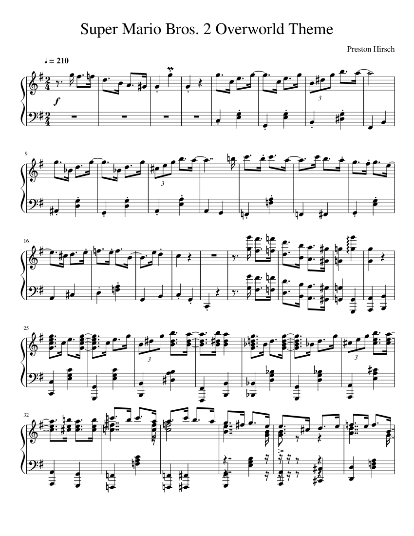 super mario bros 2 overworld theme sheet music for piano download free in pdf or midi. Black Bedroom Furniture Sets. Home Design Ideas