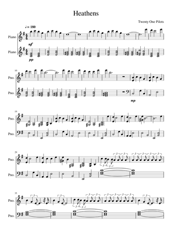Piano Keys To Heathens For Roblox Twenty One Pilots Sheet Music Free Download In Pdf Or Midi On Musescore Com