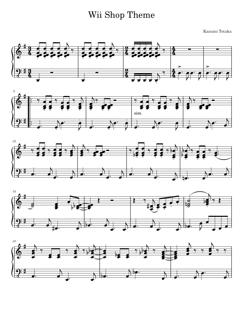Wii song piano pdf | HOW TO PLAY  2019-03-23